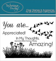 APPRECIATED Stamp Set Clear Unmounted Rubber Stamps TECHNIQUE TUESDAY New