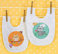 Baby Bibs Stamped Cross Stitch Kit Dimensions 70-73557 Cross Stitch 2 Bibs NEW