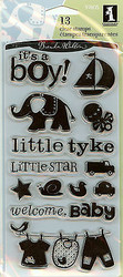 BABY BOY 13 Clear Unmounted Rubber Stamps Set INKADINKADO 97605 Little Tyke NEW