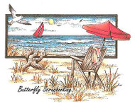 Baech Serenity Scene Cling Unmounted Rubber Stamp C.C. Designs JD1040 New