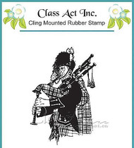 BAGPIPER PLAYING MUSIC Cling Unmounted Rubber Stamp Class Act Inc M201 NEW