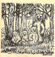 Bear Family In Pines, Wood Mounted Rubber Stamp NORTHWOODS - NEW, PP9741