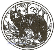 Bear In Circle, Wood Mounted Rubber Stamp NORTHWOODS - NEW, CC4955