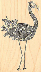Bird FANCY FLAMINGO Wood Mounted Rubber Stamp Right Impression Obsession NEW