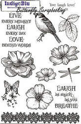 Bird Flowers Live Laugh Love Set Cling Unmounted Rubber Stamps Set IndigoBlu NEW