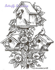 Bird Houses and Morning Glories Wood Mounted Rubber Stamp NORTHWOODS P8416 New