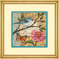 Bird Paris Post Collage Gold Collection Petites Dimensions Cross Stitch Kit NEW