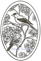 Birds Goldfinch Pair Flowers Oval Wood Mounted Rubber Stamp NORTHWOODS P8419 New