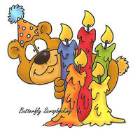 Birthday Peek-A-Bear Stamp Cling Unmounted Rubber Stamp C.C. Designs DD1013 New