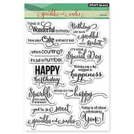 Birthday Sayings, Clear Unmounted Rubber Stamp Set PENNY BLACK- NEW, 30-297