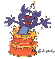 Birthday Surprise Monster Cling Unmounted Rubber Stamp C.C. Designs DD1012 New