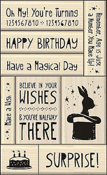 Birthday Wood Mounted Rubber Stamp Set Iinkadinkado Create A Card 9 Stamps NEW