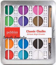 Blending Chalk 30 Basic Brights Shades Chalks With Applicator PEBBLES 742001 New