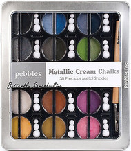Blending Chalk 30 METALLIC CREAM Chalks 1 Applicator 45 tops PEBBLES 742007 New