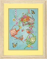 Blooming Watering Cans Birds Stamped Cross Stitch Kit Dimensions 70-03246 NEW