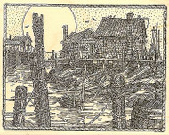 BOAT DOCK PILINGS SCENE Wood Mounted Rubber Stamp Impression Obsession H1989 NEW