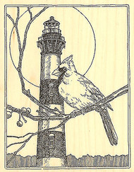 Bodie Lighthouse Cardinal Wood Mounted Rubber Stamp Impression Obsession NEW