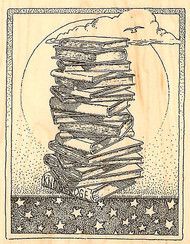 Books, Wood Mounted Rubber Stamp IMPRESSION OBSESSION - NEW, H1821