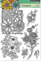 Bouquets Bloom Stamp Set Clear Unmounted Rubber Stamp Set PENNY BLACK 30-213 New