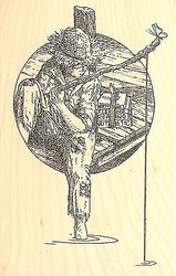 BOY FISHING ON DOCK Wood Mounted Rubber Stamp Impression Obsession G1996 NEW