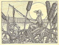 BOY FISHING WITH FROG Wood Mounted Rubber Stamp Impression Obsession H2502 NEW