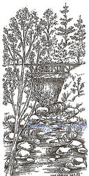 Bridge With Water Fall Wood Mounted Rubber Stamp Northwoods Rubber Stamp New