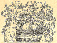 Bunny Flower Basket Wood Mount Rubber Stamp IMPRESSION OBSESSION Stamp H1953 New