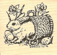 Bunny In Tipped Basket, Wood Mounted Rubber Stamp NORTHWOODS - NEW, CC5053