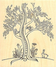Bunny Tree, Wood Mounted Rubber Stamp IMPRESSION OBSESSION - NEW, K15076