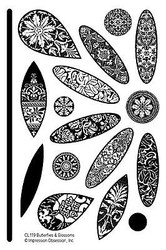 BUTTERFLIES & BLOSSOMS Clear Unmounted Rubber Stamps Set IMPRESSION OBSESSION