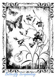 Butterfly & Flowers In Frame Cling Unmounted Rubber Stamp MAGENTA C40301-P NEW