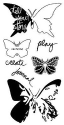 Butterfly Blazer Designs 7 Clear Unmounted Stamps Set Impression Obsession NEW