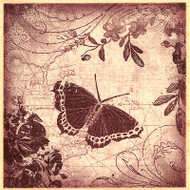 Butterfly Collage Wood Mounted Rubber Stamp INKADINKADO New