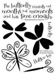 BUTTERFLY Counts The Moments Clear Unmounted Stamps Set Impression Obsession New
