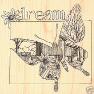 BUTTERFLY DREAM Wood Mounted Rubber Stamp Impression Obsession H1774 NEW