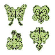 Butterfly Garden Stamping Gear Unmounted Cling Rubber Stamp Set Inkadinkado New