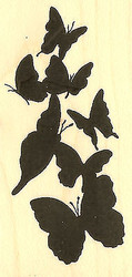 Butterfly Garden Wood Mounted Rubber Stamp Impression Obsession NEW