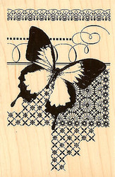 Butterfly Mixed Media Art Wood Mounted Rubber Stamp STAMPENDOUS Stamp P224 New