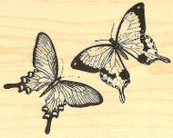 Butterfly Pair Butterflies Wood Mounted Rubber Stamp Impression Obsession NEW