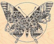 Butterfly Scene Wood Mounted Rubber Stamp Impression Obsession G1753 NEW