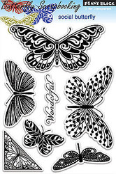 Butterfly Social Stamp Set Clear Unmounted Rubber Stamps PENNY BLACK 30-116 New