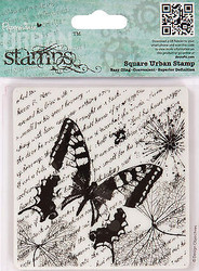 BUTTERFLY Square Cling Unmounted Rubber Stamp Urban Stamps PMA 907140 NEW