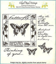 BUTTERFLY SQUARE Set Cling Unmounted Rubber Stamps Class Act Inc CRA7011A NEW