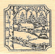 Cabin In Notched Square, Wood Mounted Rubber Stamp NORTHWOODS - NEW, CC8343