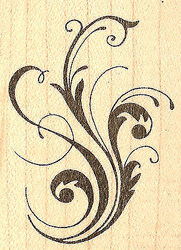 Calligraphic Flourish, Wood Mounted Rubber Stamp JUDIKINS, NEW - 3348E