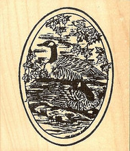 Canadian Geese In Oval, Wood Mounted Rubber Stamp NORTHWOODS - NEW, P9045