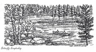 Canoe On Wooded Lake, Wood Mounted Rubber Stamp New NORTHWOODS - O7418
