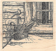 Cardinals By Window, Wood Mounted Rubber Stamp IMPRESSION OBSESSION - NEW, F1929