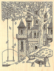 Castle With Swing Wood Mounted Rubber Stamp Impression Obsession NEW