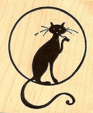 Cat In Moon Halloween, Wood Mounted Rubber Stamp NORTHWOODS - NEW, M7007